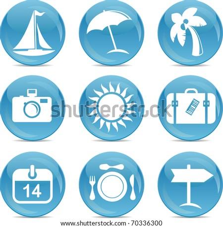 shiny travel icons - stock vector