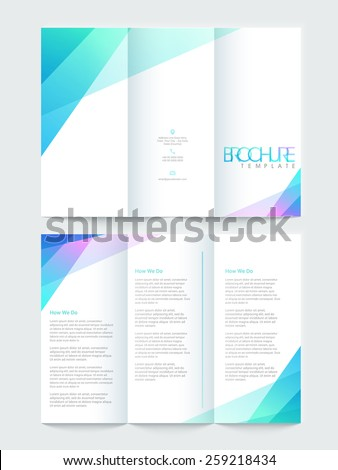 Shiny Tri Fold brochure, template or flyer design, Including front and back pages for your corporate need. - stock vector