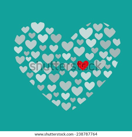 Shiny Valentine Heart on blue background. EPS 10. One red heart in many gray hearts - stock vector