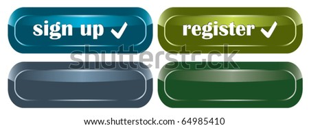 shiny vector buttons for web design with bonus buttons of other color - stock vector