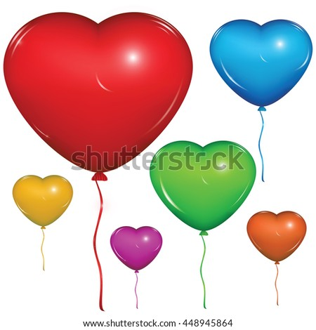 Shiny vector heart balloon. Color set: red, green, blue, purple, orange, yellow. Isolated on white background.