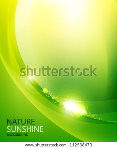 Shiny wave abstract background. Green color - stock vector