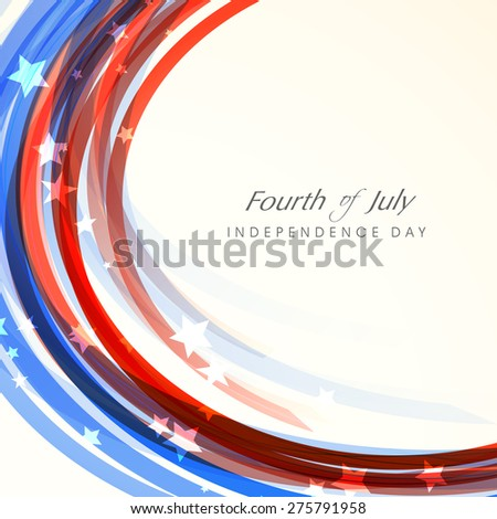 Shiny waves in American national flag colors for Fourth of July, Independence Day celebration. - stock vector