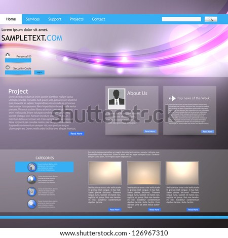 Shiny Website Template - stock vector