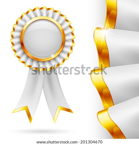 Shiny white award ribbon with golden edging. Fabric with highly detailed texture - stock vector