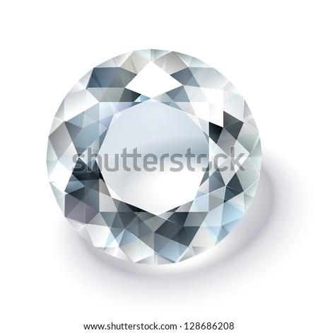 Shiny white diamond illustration - stock vector