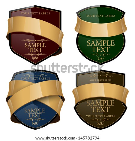 Shiny Wine Label with a gold ribbon. Vector illustration  - stock vector
