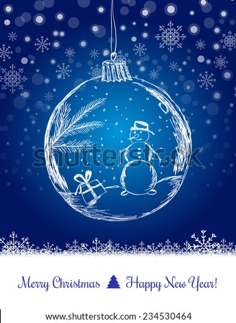 Shiny Xmas ball with snowman for Merry Christmas celebration on dark blue background with snowflakes. Hand drawn. Vector eps illustration - stock vector