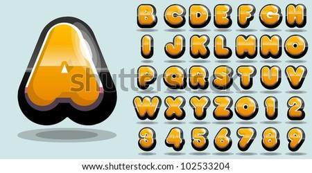 shiny yellow vector alphabet - stock vector