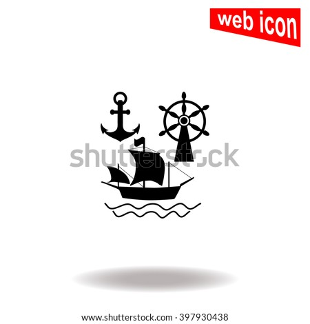 Ship, Anchor and Rudder icon. Universal icon to use in web and mobile UI - stock vector