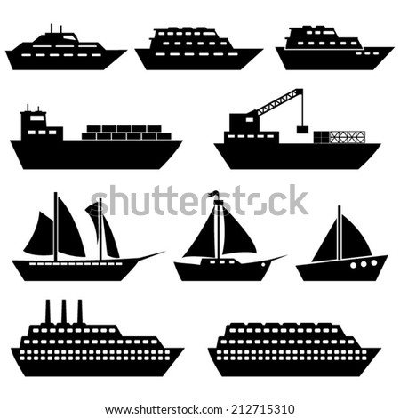 Ship And Boat Icons - stock vector