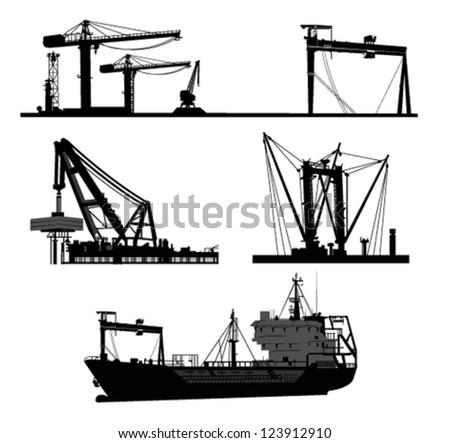Ship and crane.Vector elements - stock vector