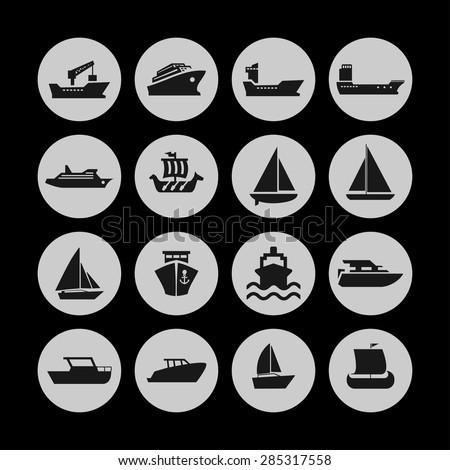 ship cruise yacht icon set - stock vector