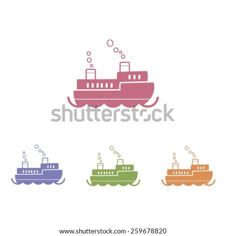 Ship flat icon. Vector illustration. - stock vector