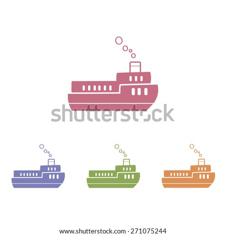 Ship flat icon. Vector illustration. - stock vector