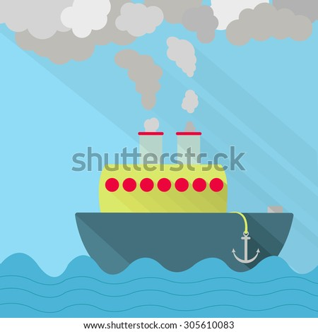 Ship fuming. Ship steaming the exhaust pipe. Air pollution. Flat design with long shadow.