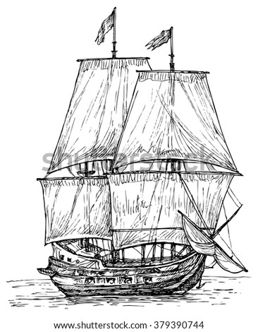 Ship - hand drawn vector illustration, isolated on white