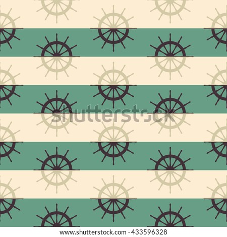 ship helm seamless pattern on striped background. vector illustration - stock vector