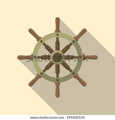 Ship helm vector icon in flat style with long shadow. Shipboard steering wheel with 8 handles. EPS10 illustration.