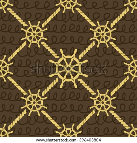 Ship helm vector seamless pattern. Helm, steering wheel and ropes seamless texture. Steering wheel and rope symbols seamless pattern. Ship helm vector wallpaper design. EPS8 vector illustration. - stock vector