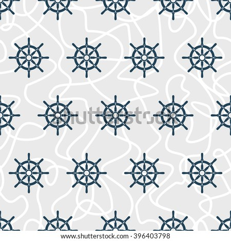 Ship helm vector seamless pattern. Helm, steering wheel and tangled ropes seamless texture. Steering wheel symbol seamless pattern. Ship helm vector wallpaper design. EPS8 vector illustration. - stock vector
