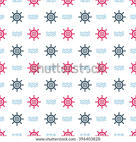 Ship helm vector seamless pattern. Helm, steering wheel and waves seamless texture. Steering wheel and wave symbols seamless pattern. Ship helm vector wallpaper design. EPS8 vector illustration. - stock vector