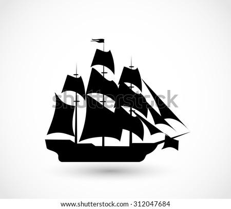 Ship icon vector - stock vector