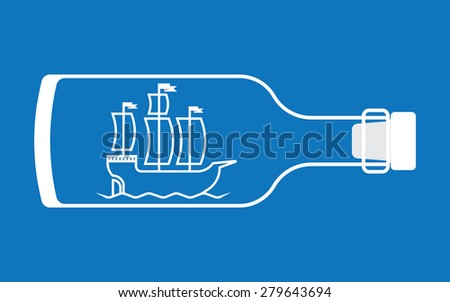 Ship in a bottle - stock vector