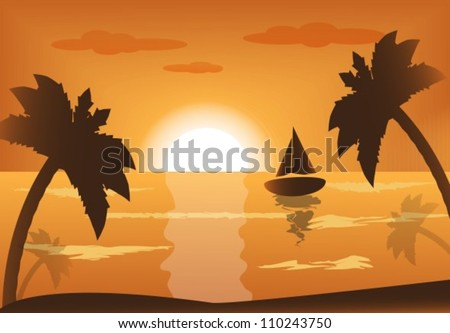 ship into the sea at sunset and palm trees - stock vector
