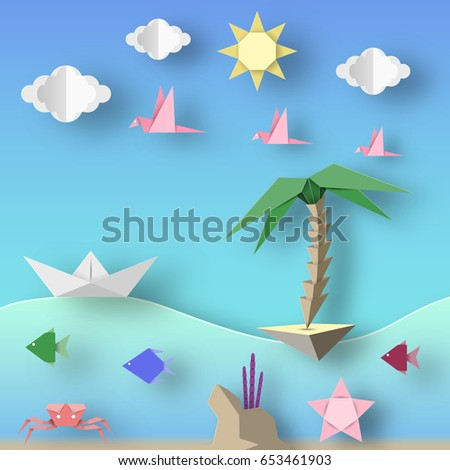 Ship Island Birds Clouds Sun And Underwater Life Style Paper Origami