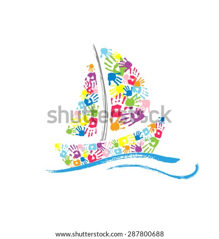 Ship made of the color handprints on white background. Vector illustration - stock vector