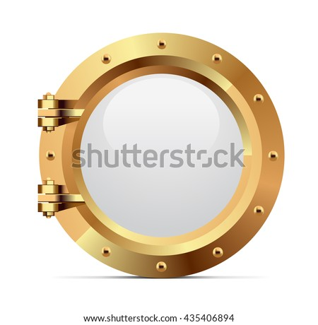 Ship metal porthole on white background - stock vector