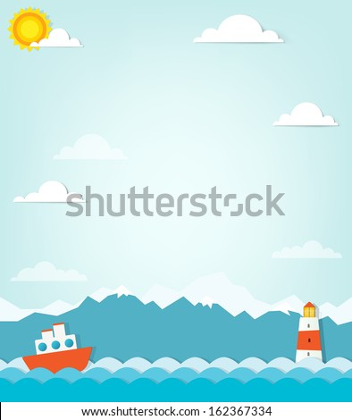 ship on a background of mountains - stock vector