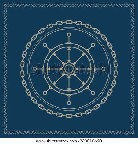 Ship's wheel ,marine emblem with boat's wheel, retro ornament ship's wheel, vector illustration - stock vector