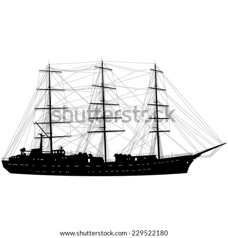 Ship sailing boat silhouette isolated on white background. Vector illustration. - stock vector