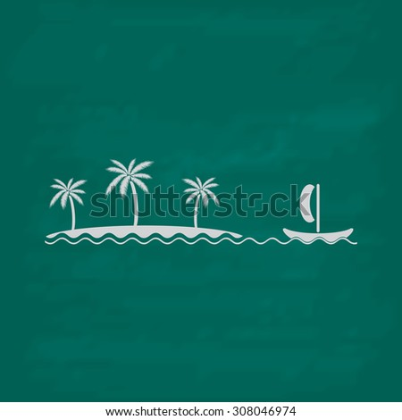 Ship sailing near the island with palm trees. Icon. Imitation draw with white chalk on green chalkboard. Flat Pictogram and School board background. Vector illustration symbol - stock vector