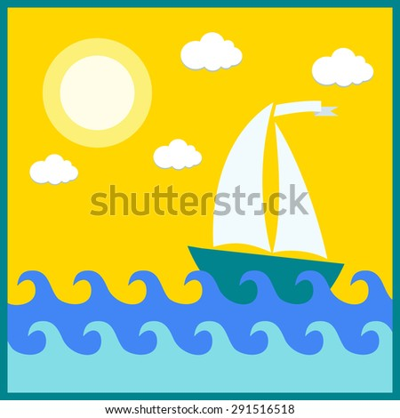 ship sailing on the waves of the summer - stock vector
