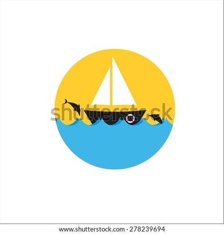 Ship, sea and dolphin - stock vector
