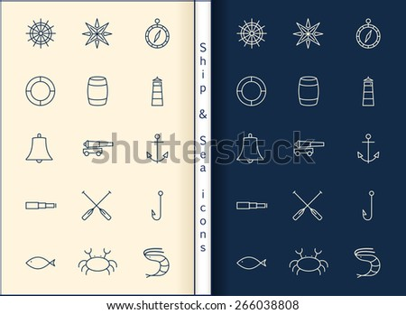 Ship & Sea line icons set - stock vector