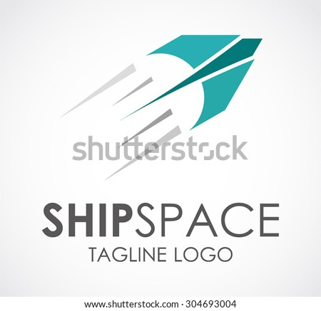 Ship space fly fast abstract vector logo design template plane business galaxy icon company identity air symbol concept - stock vector