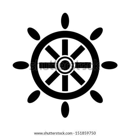 Ship steering wheel icon - stock vector