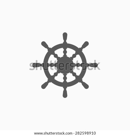 ship steering wheel icon - stock vector
