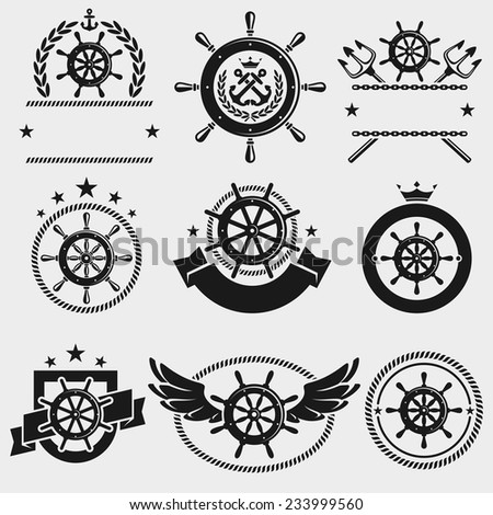 Ship steering wheel label and element set. Vector - stock vector