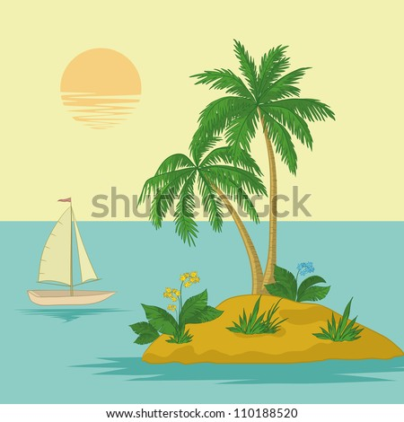 Cartoon Palm Tree Island Sea Island With Palm Trees