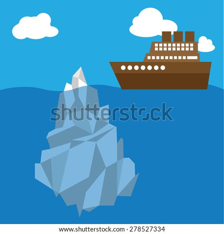 Ship travel to north pole - stock vector