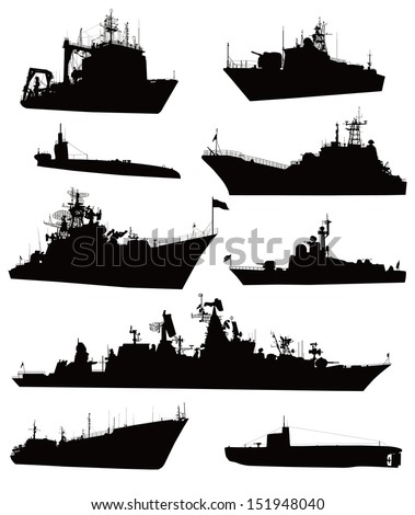 Ship vectors. Detailed silhouettes collection  - stock vector
