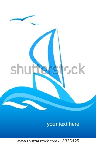 ship wave sea abstract - stock vector