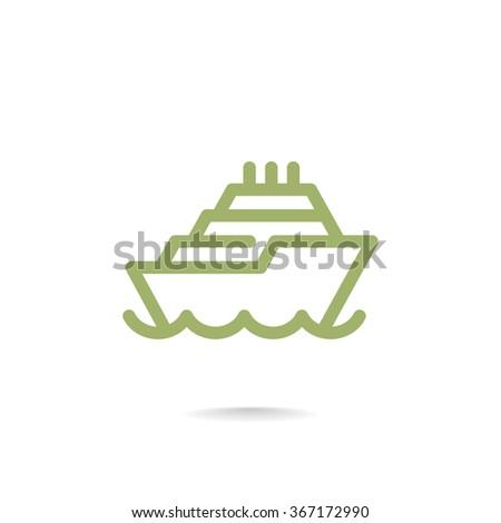 ship, web icon. vector design - stock vector