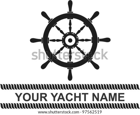 ship wheel banner - stock vector