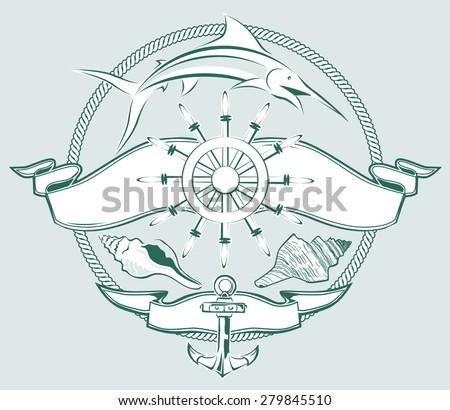 Ship Wheel Crest - stock vector